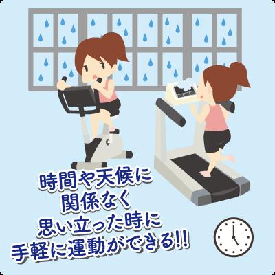時間や天候に関係なく思い立った時に手軽に運動ができる!!